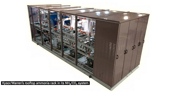Kysor/Warren's rooftop ammonia rack in its NH3/CO2 system